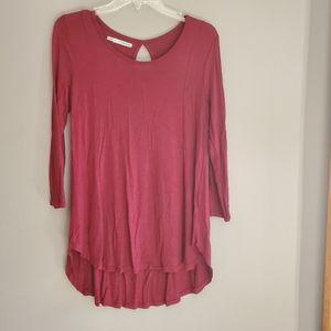 Tunic length burgundy top high low small